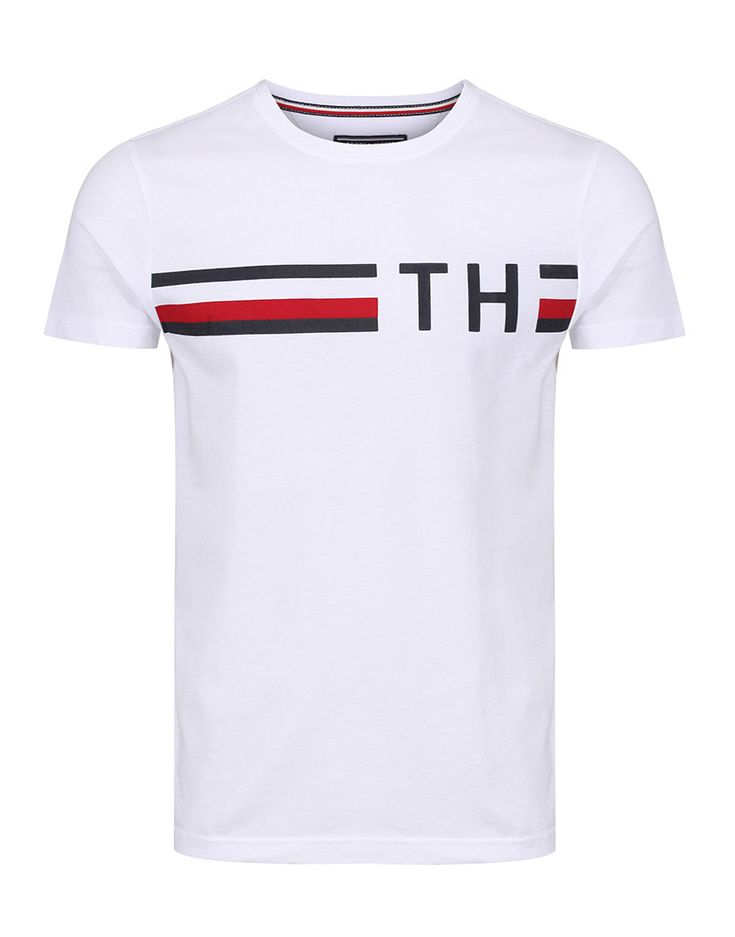 A wardrobe staple, the Men's Striped Logo T-shirt by Tommy Hilfiger is as high in quality as it is in style and functionality. The top is easily matched and looks its best when paired with denim jeans.