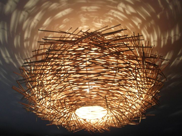 Unusual hand made birds nest ceiling lamp shade twisted rattan lamp shade lrg