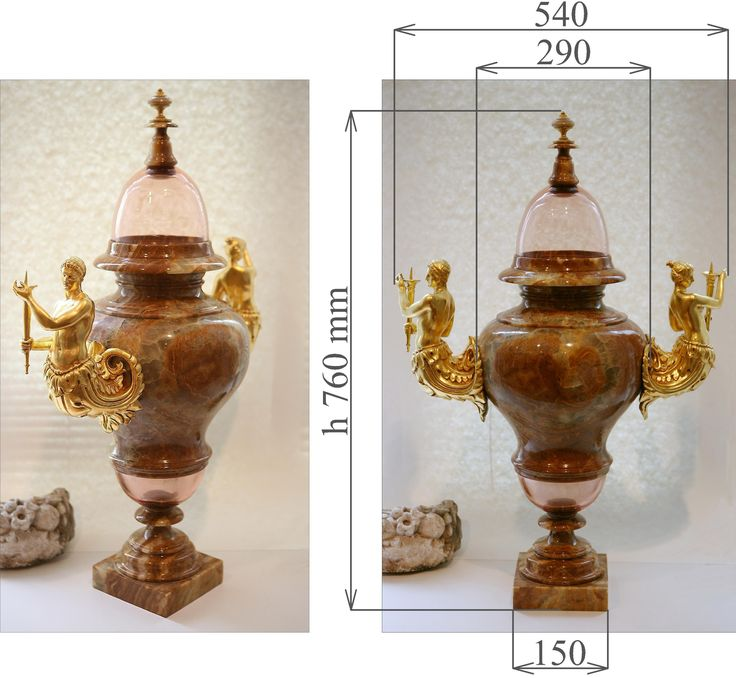 Vase with lid, baroque style.   Onyx, polished, ruby glass. Plastic cast gilt decorative figures.  Ormolu pull on lid.  Measurements with lid: Height 760 x Width 540 x Depth 280 mm  Weight approx. 20 kg. Term of this work is 3 months.  Location: Moscow. 3.000 EUR. Contact: artinform76@gmail.com