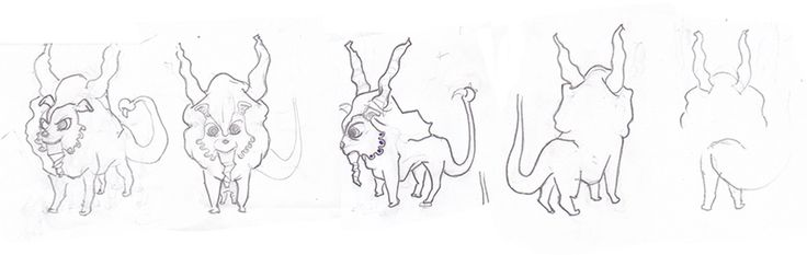 Sketches para un personaje basado en el personaje mitológico Manticora.