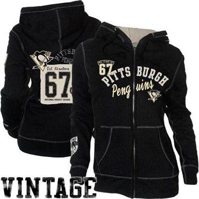 Old Time Hockey Pittsburgh Penguins Ladies Nadine Full Zip Hoodie - Black