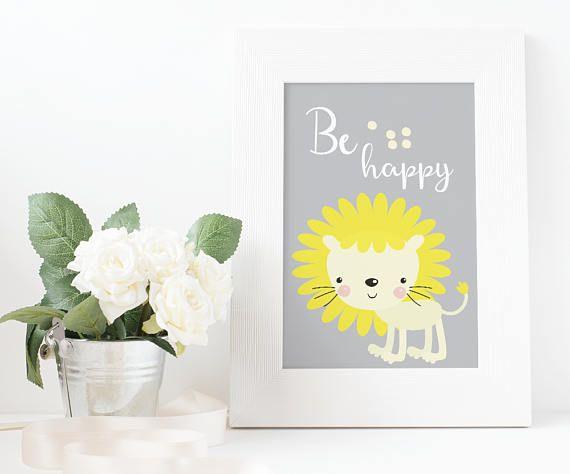 Lion print be happy poster nursery print lion art kids