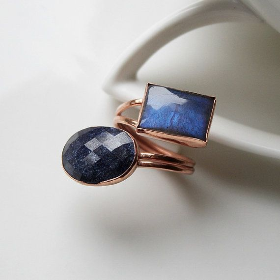Sapphire Ring Dark Blue Ring Adjustable Open Ring by StudioAngel