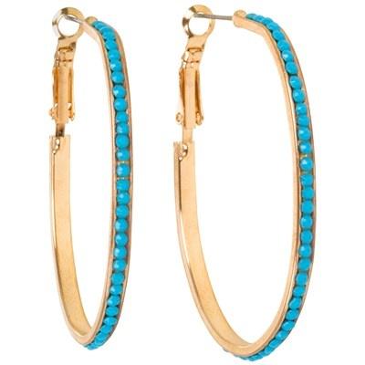 Turquoise Beaded Hoop Earrings from Kirra Tate!: Beads Hoop, Trendy Turquoi, Turquoi Jewelry, Hoop Earrings, Grayc Laylagrayc, Layla Grayc, Turquoise Beads, Turquoi Beads, Jewelry Boxes