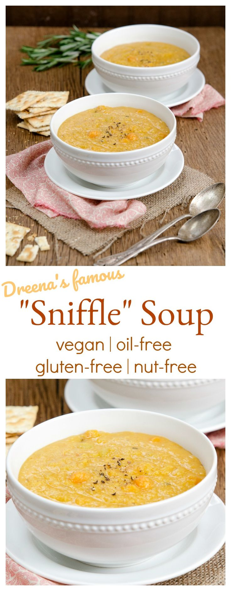 "Dreena's FAMOUS Mellow Lentil ""Sniffle"" Soup. Make it now, love it forever! #vegan #soup #recipe #oilfree #wfpb #plantbased #soups #lentils #nutfree #soyfree #glutenfree #easy"