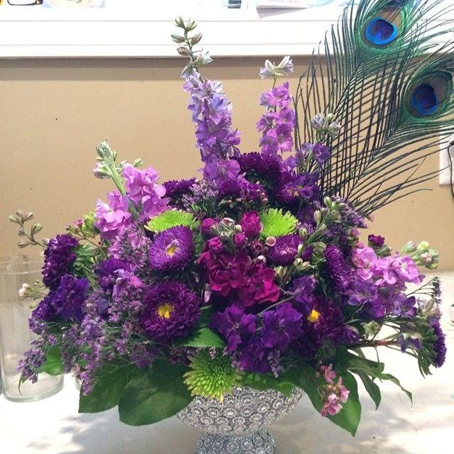 White Larkspur Centerpiece : Centerpiece of lavender larkspur stock purple