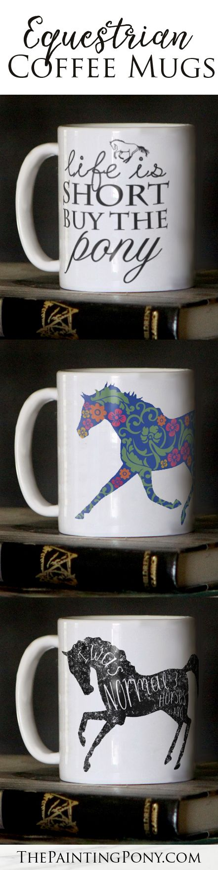 Horse lover coffee mugs for the equestrian. 11 or 15oz size ceramic mugs for the coffee and tea drinker. Perfect for anyone who loves horses and ponies and horseback riding.