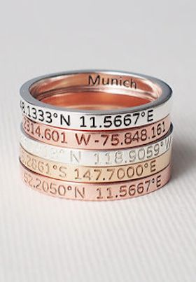 personalized longitude and lattitude rings