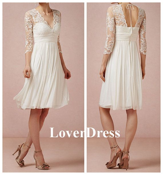 Short Wedding Dress Wedding Dress with Sleeves Lace by LoverDress, $140.00