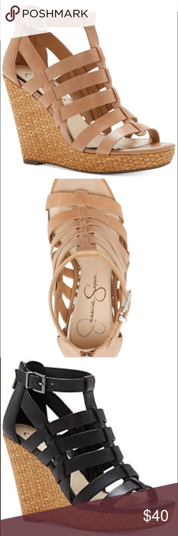 "Jessica Simpson wedge heels Jessica Simpson wedge heels Black and Tan 4"" inch wedge 3/4 platform. Shoes Wedges"