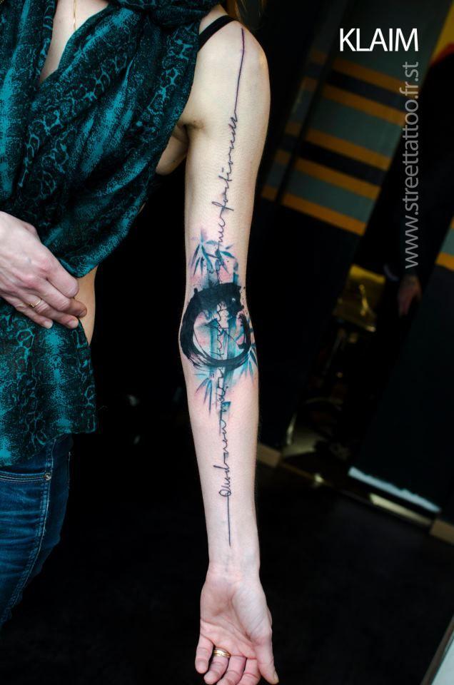 arm tattoo aquarell blue