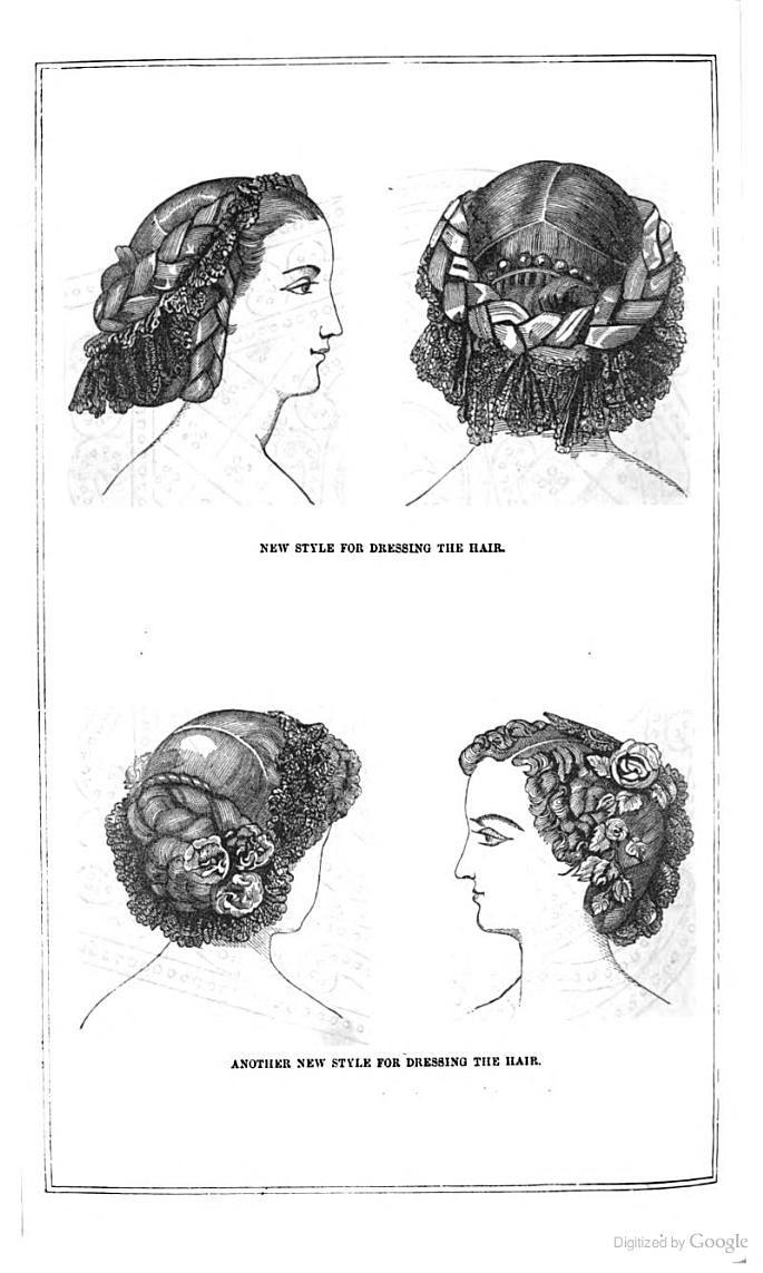 "The Peterson Magazine - Ann Sophia Stephens - Google Books. October 1859. ""New Style for Dressing the Hair."" ""Another New Style for Dressing the Hair."" Note side part."