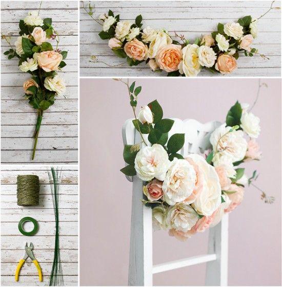 DIY Wedding Decorations – Floral Garland Chair