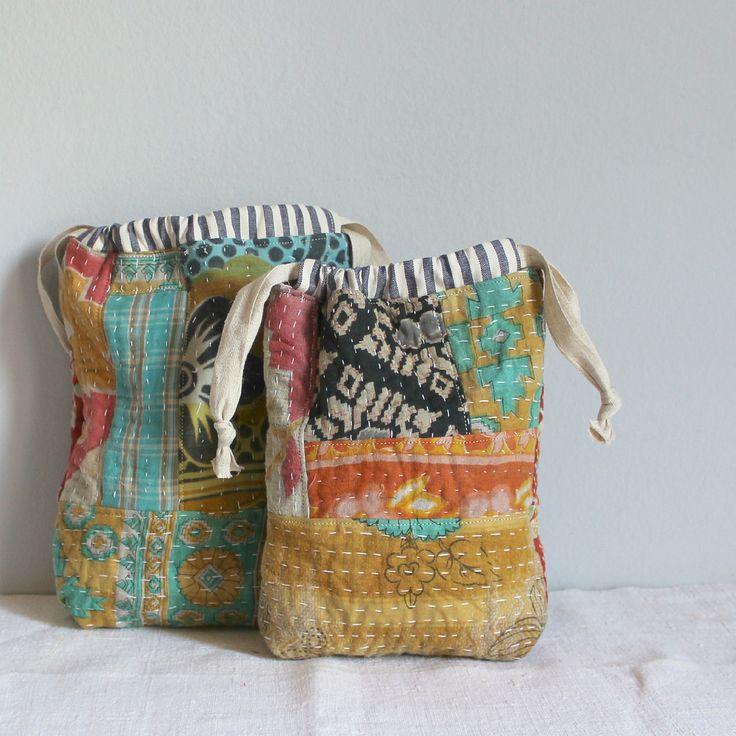 https://flic.kr/p/q9z6Fi   Drawstring bags kantha fabrics   Blogged www.roxycreations.blogspot.com