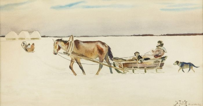 Julian Fałat - Pejzaż zimowy, 1912 r.