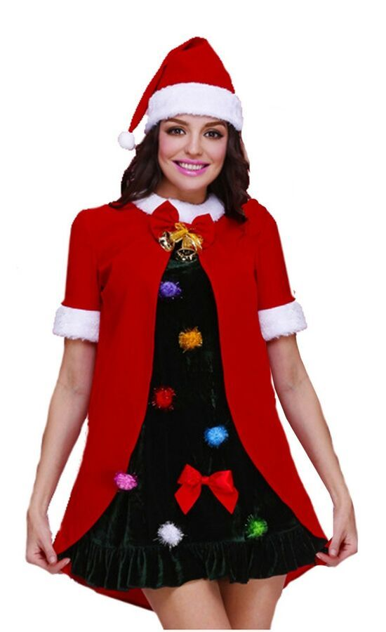 5c5beba0d9e3a Ladies Christmas fancy dress black red Santa or Christmas Tree costumes# fancy#dress#Ladies