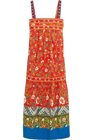 Tory Burch - Dayton Embroidered Printed Cotton-blend Midi Dress - Orange - US14