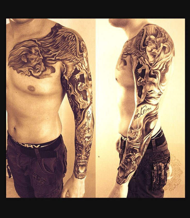 Tattoo sleeve heaven hell google s k tattos rick for Battle between heaven and hell tattoo