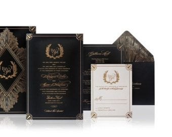 Luxury Wedding Invitations Letterpress Gold Foil Art Deco Style A Set Of 100