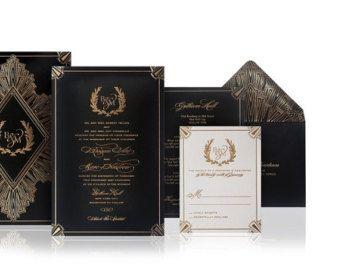 Luxury Wedding Invitations Letterpress Gold Foil Art Deco Style A Set Of 100