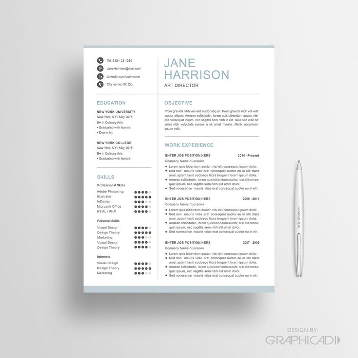 resume template with a matching cover letter and reference page for microsoft word and iwork pages