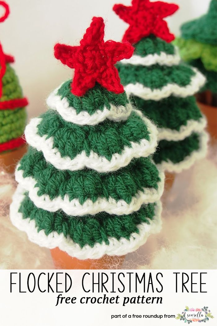 Get the free crochet pattern for these crochet flocked christmas trees decor from Trol De Noche featured in my crochet christmas party FREE pattern roundup!