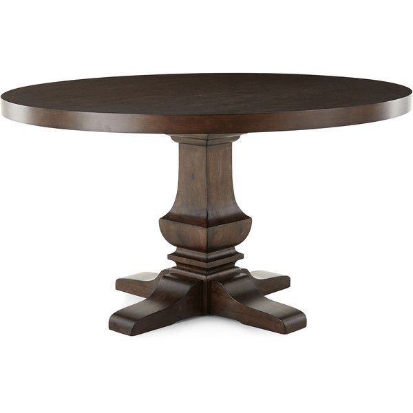 """Farmhouse 54"""" Wood Pedestal Dining Table ($668) ❤ liked on Polyvore featuring home, furniture, tables, dining tables, wood kitchen table, wooden kitchen table, wood table, home wood furniture and wooden table"""