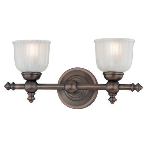 Fordyce Bath - 2 Light Bath - 2 Light Bath in Dark Brushed Bronze Finish w/Clear Etched Glass