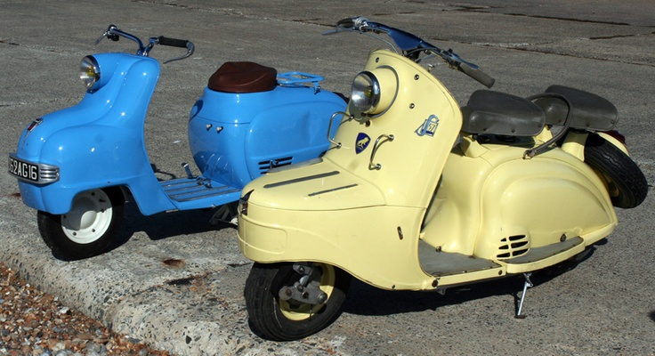 This cream 1955 Peugeot S57scooter has a trunk at the front!