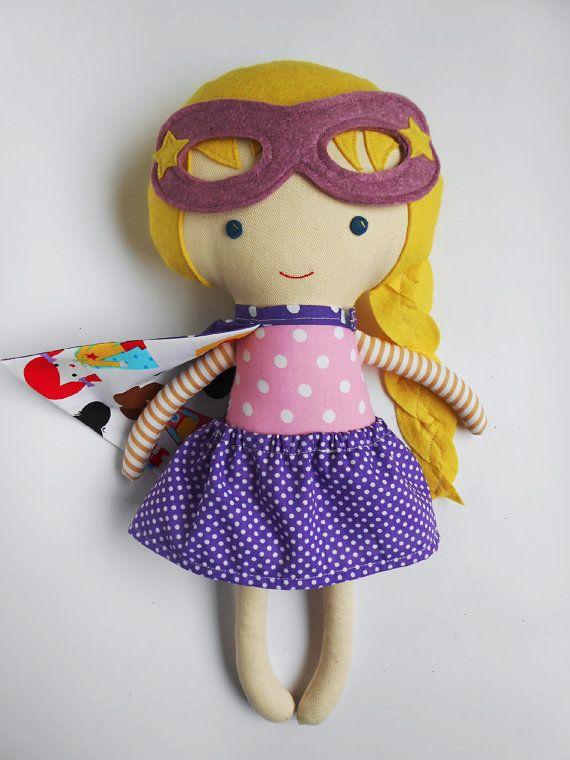Doll superhero girl handmade rag doll with cape by LaLobaStudio #rag_doll #superhero_girl #dolls