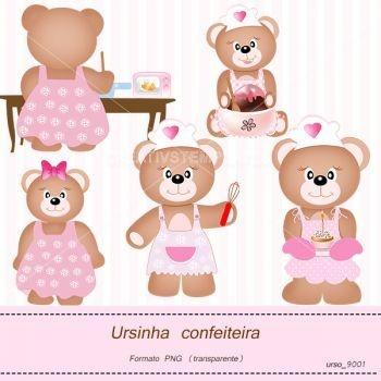 Ursinha confeiteira  Teddy bear  clipart for design