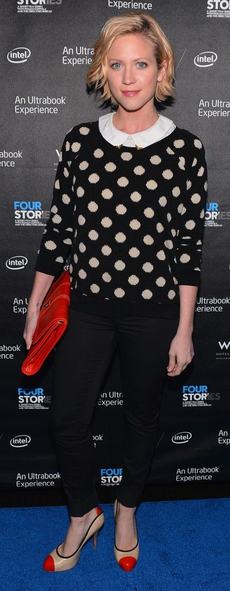 Brittany Snow in casual polka dots.
