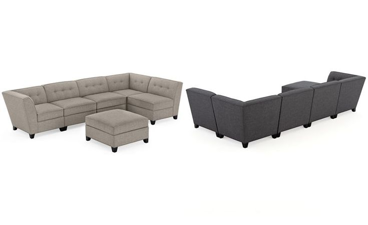 Harper Fabric 6-Piece Modular Sectional Sofa with Ottoman - Couches & Sofas - Furniture - Macy's
