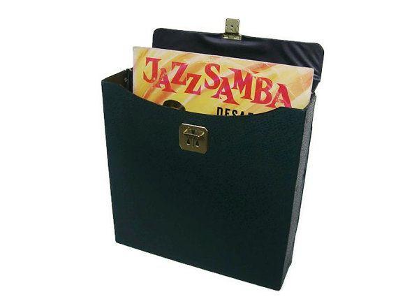 Vintage vinyl record storage case, green faux leather
