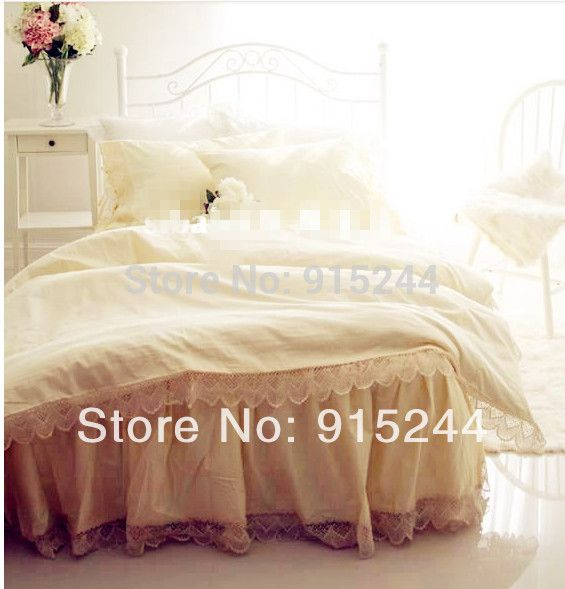 find more information about european version luxury handmade hook needle 100cotton beige color king size wedding bedding 4pcs set bed skirt duvet cover