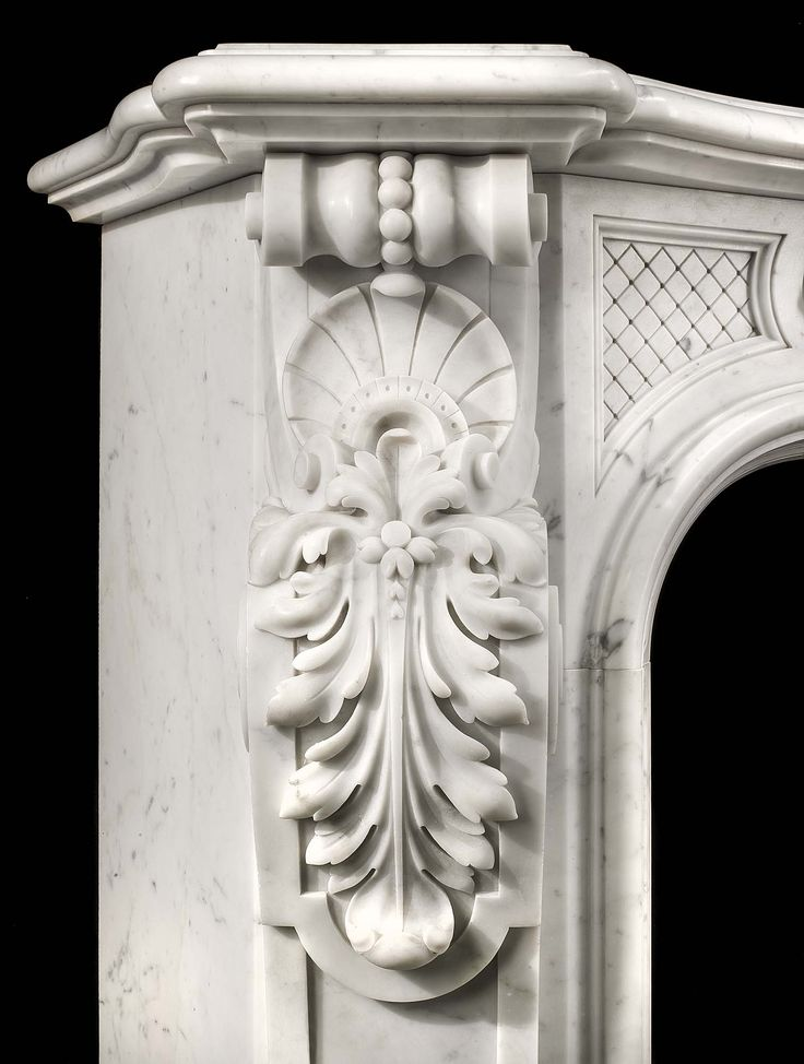 Antique white Carrara marble Rococo Louis XV fireplace mantel