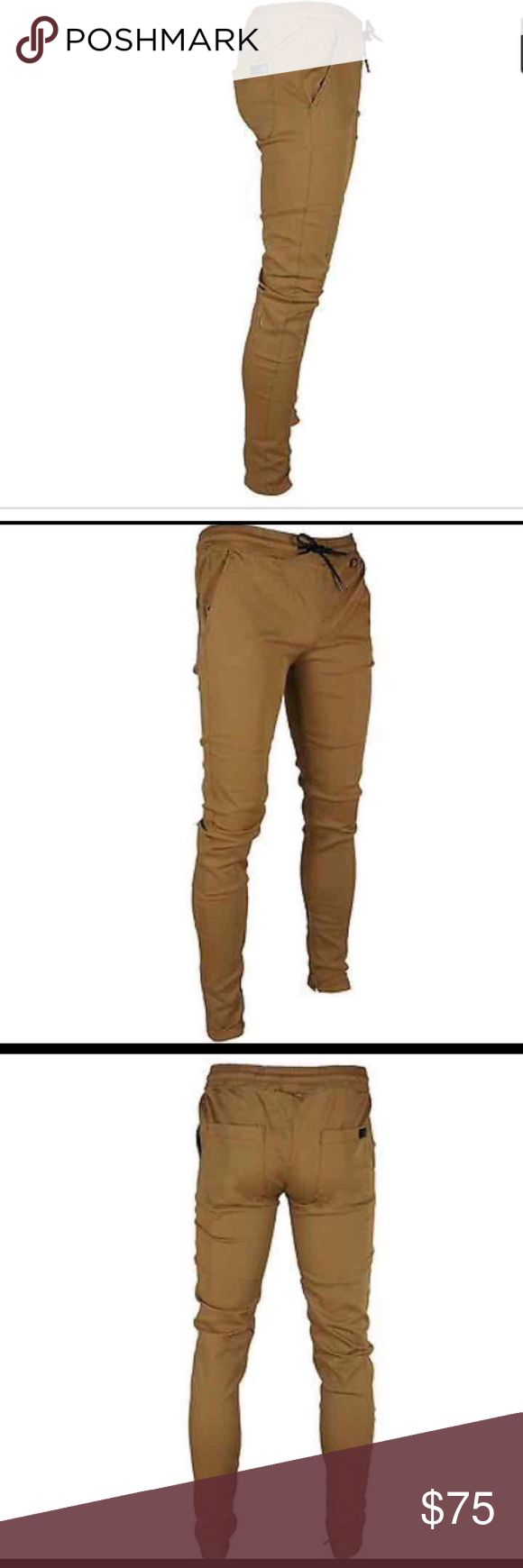 Men's camel color joggers KDNK men's tapered ankle zipper slim fit jogger pants  30-38 I bought them and they didn't fit me and I paid $75 for them Jeans Skinny