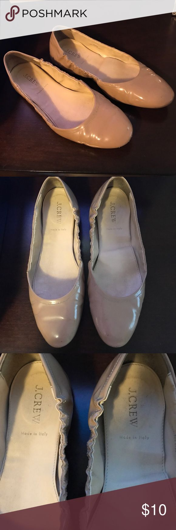 J Crew patent leather nude flat size 8 J Crew patent leather nude flat size 8.  Wear on the heels and toes shown in pictures. And sole insert on left shoe is coming loose, but could be fixed. Still a great neutral ballet flat, selling as is. J. Crew Shoes Flats & Loafers