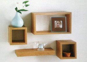 Set of 4 Floating Wall Storage Display Book Cubes Shelves Stand Shelf (Oak Effect): Amazon.co.uk: Kitchen & Home