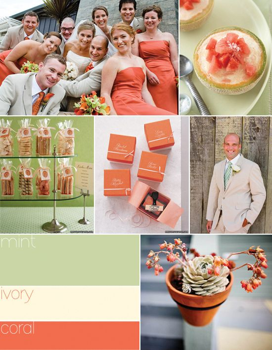 Olive Green and Coral Wedding