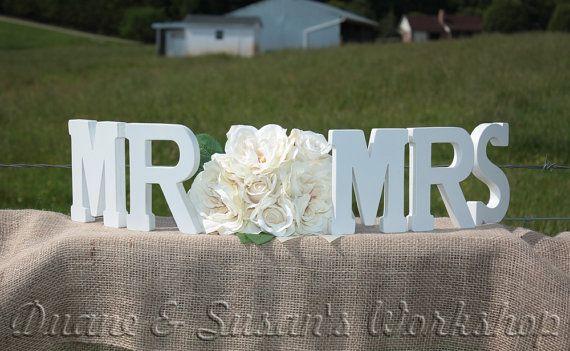 MR MRS wooden sign sweetheart table wedding DIY by DuanesWorkshop, $20.00