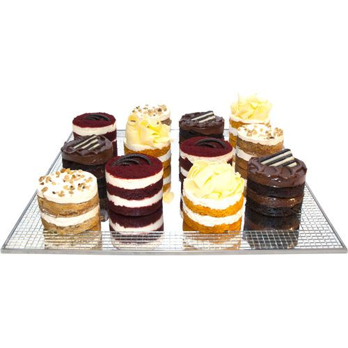 Red Velvet, Orange Creamsicle, Jack Daniels, and Banana Foster. Four of each mini cakes for $50 at Costco. - Nessa