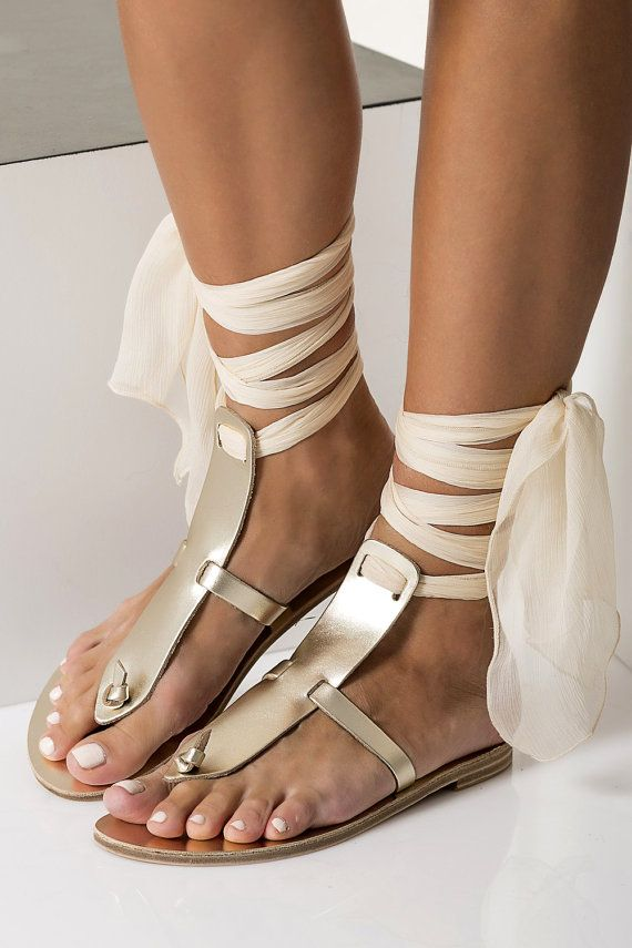 Gold leather sandals, Greek Wedding flats with silk laces