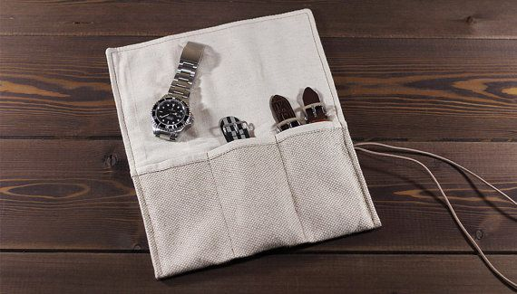 White travel watch roll of durable canvas flax and by MrHaidukoff  #watch #watchcase #watchroll #watchcover #watchfam #watchgeek #canvas
