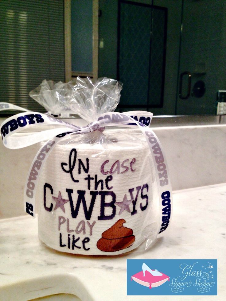 Dallas Cowboys embroidered toilet paper gag gift by GlassSlipperShoppe on Etsy https://www.etsy.com/listing/213670700/dallas-cowboys-embroidered-toilet-paper