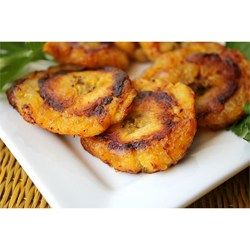 Crispy fried plantains. A plantain is a very firm banana. Serve as side dish with your meal or as appetizers.