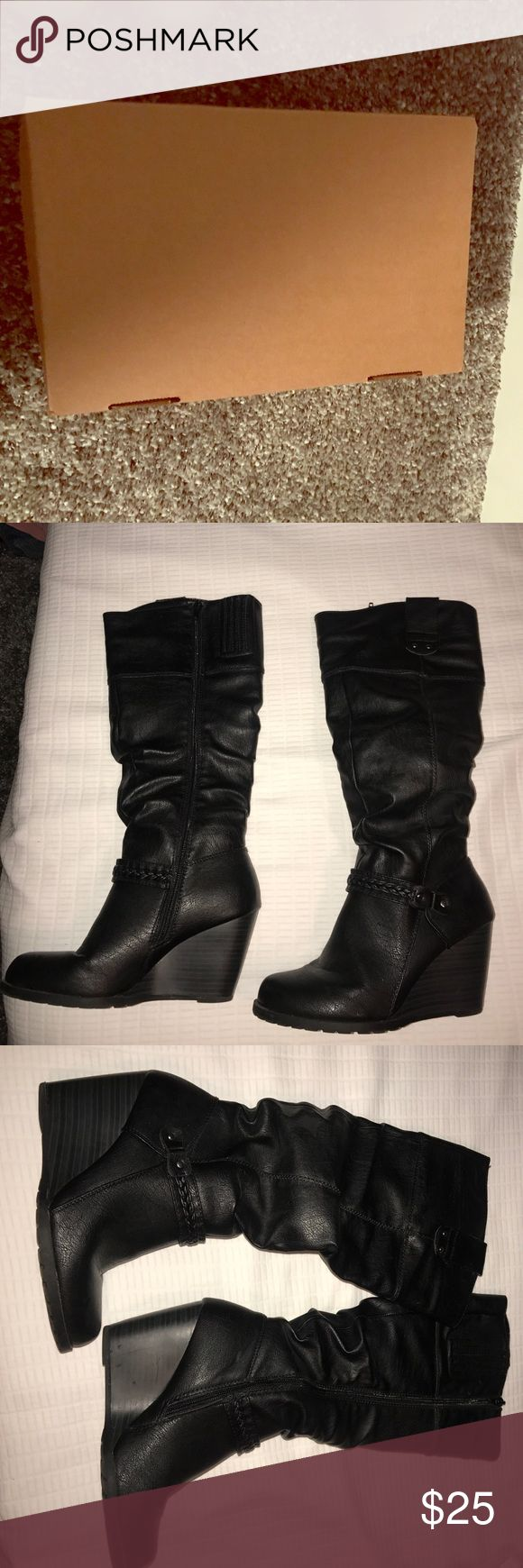 Size 7 women's knee high wedge boots black Black women's size 7 boots wedges, these are never worn and will come with the box I bought them in. They come right below the knee Sbicca Shoes Heeled Boots