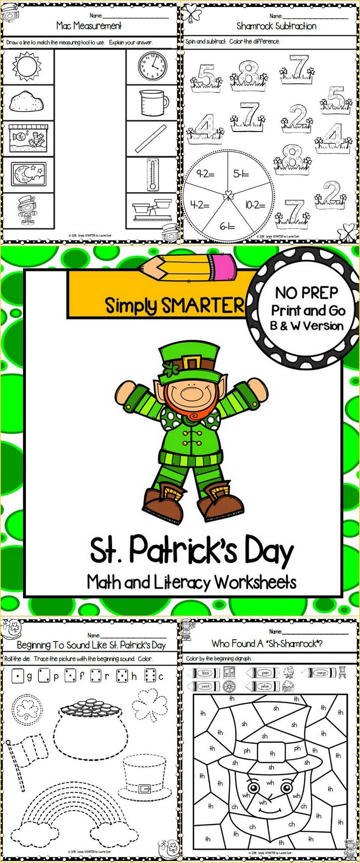 Are you looking for NO PREP math and literacy activities? Then enjoy this math and literacy resource which is comprised of FORTY ST. PATRICK'S DAY themed WORKSHEETS. The worksheets can be used for guided math, math centers, word work, literacy centers, early finishers, enrichment, remediation, independent work, morning work, focus lessons, and homework. ALL YOU NEED TO DO IS AND PROVIDE PENCILS, CRAYONS, CLIPS, AND DICE.
