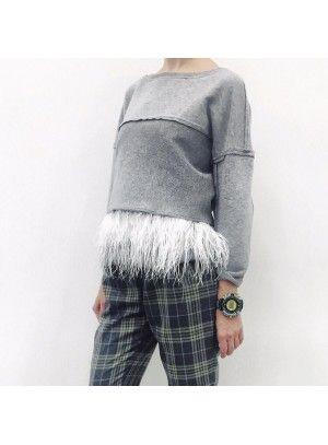 Серый Топ с белыми перьями страуса + укороченный Свитшот