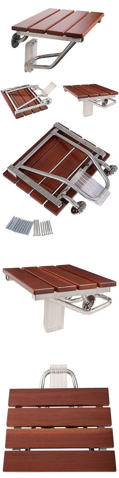 Shower and Bath Seats: Steel Folding Bath Seat Bench Shower Chair Wall Mount Solid Wood Construction -> BUY IT NOW ONLY: $62.04 on eBay!